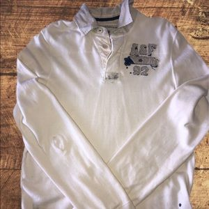 ABERCROMBIE & FITCH Cream long-sleeve polo L
